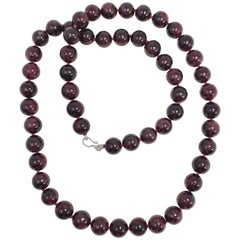 Garnet 12.5mm Bead Knotted String Necklace, Sterling Silver S Hook Clasp