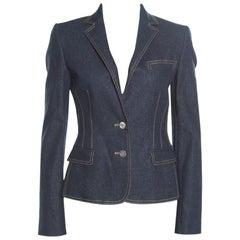 Dolce & Gabbana Indigo Dark Wash Denim Two Button Jacket S