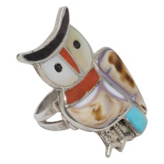Native American Coral, Turquoise, Mother of Pearl Inlay Sterling Silver Owl Ring