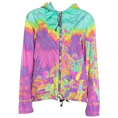 Prada Sport Multicolor Printed Zip Front Belted Hooded Jacket M