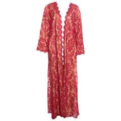 Tadashi Shoji Red Lurex Embroidered Lace Front Open Hazelle Long Jacket S