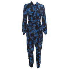 Stella McCartney Black and Blue Floral Printed Silk Belted Natalia Jumpsuit S