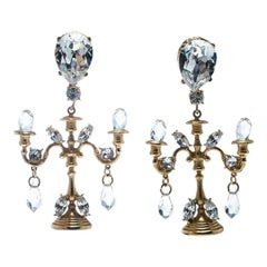 Dolce and Gabbana Crystal Candle Gold Tone Clip-on Chandelier Earrings