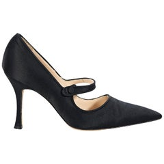 Black Manolo Blahnik Satin Mary Jane Pumps