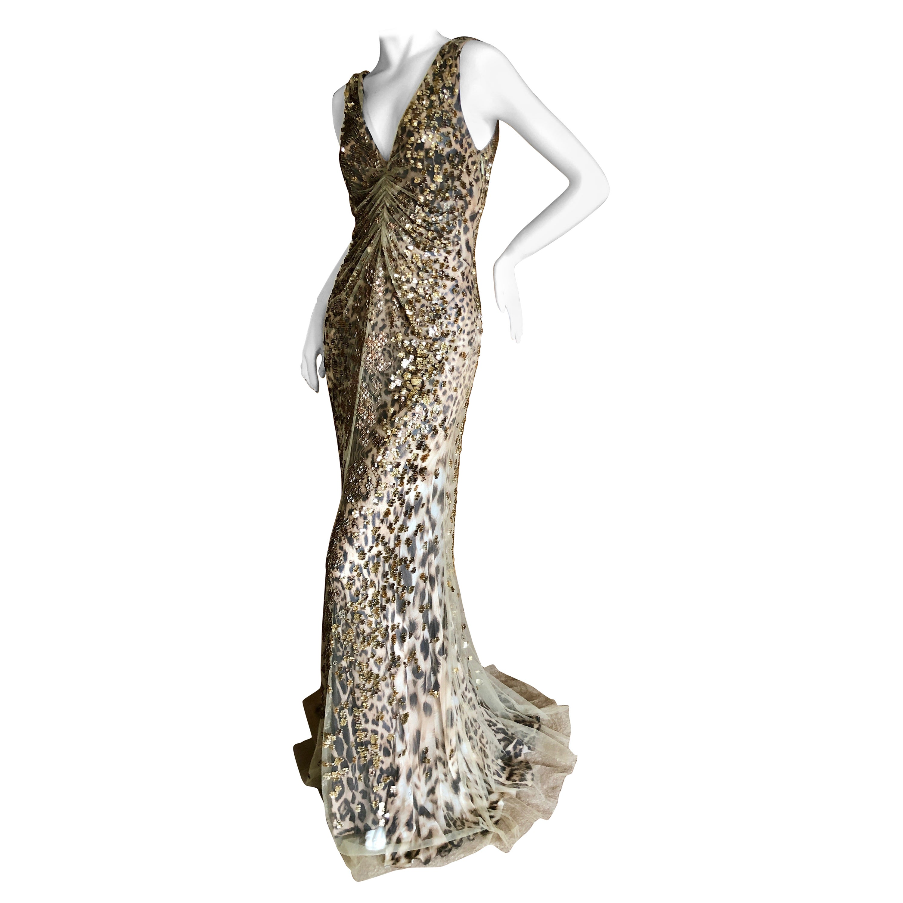 44832a6757 Roberto Cavalli Vintage Silk Leopard Print Embellished Net Overlay Evening  Dress For Sale at 1stdibs