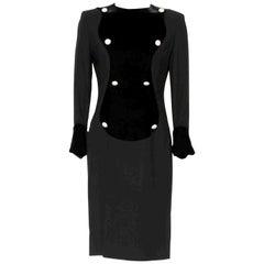 Vintage 1970s Lanvin black crepe/velvet and rhinestone buttons elegant dress