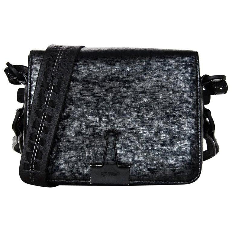 57dda036f Off-White Black Grained Leather Sculpture Binder Clip Crossbody Bag For Sale