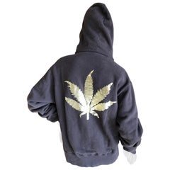 Lucien Pellat Finet Brown Zip Front Hoodie with Golden Cannabis Leaf on Back