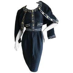 Moschino Pret a Porter Polka Dot '80's Dress Matching Jacket w Bold Gold Buttons