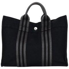 Hermes Black/Grey Stripe Canvas Fourre Tout PM Tote Bag