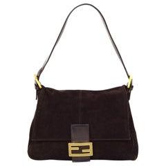 Fendi Brown Suede Mama Baguette Bag W/ FF Enamel Logo Buckle