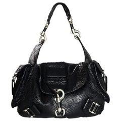 Christian Dior Limited Edition Black Python Shoulder Bag w/ Side Pockets