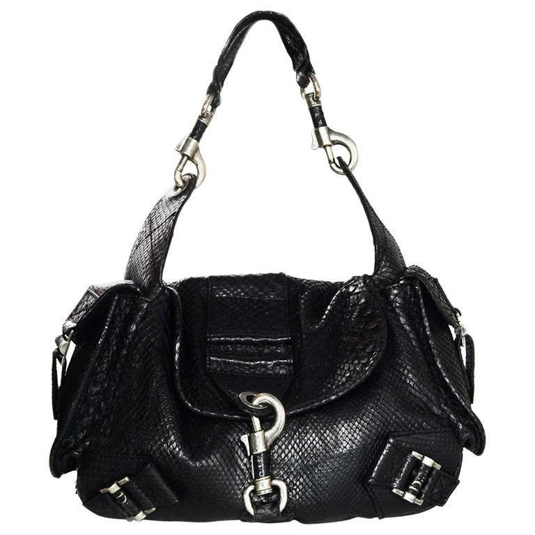 Christian Dior Limited Edition Black Python Shoulder Bag w  Side Pockets  For Sale 9353310e1e6fa