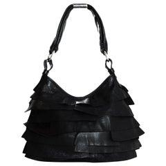 YSL Yves Saint Laurent Black Leather St Tropez Layered Ruffle Shoulder Bag