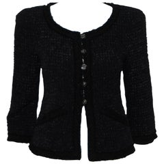 Chanel Black Lessage Tweed 2009 Fall Collection Jacket W/ Purple Ribbons