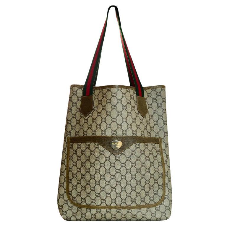 0e1d8555ed4 Gucci Vintage GG Monogram Plus Tote Bag W  Red Green Web Straps For Sale