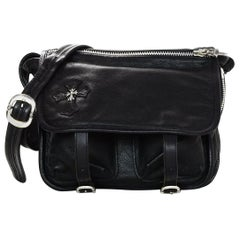 Chrome Hearts Black Leather Messenger Crossbody Bag W/ Sterling Silver Accents