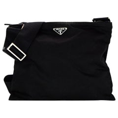 Prada Black Nylon Flat Messenger Zip Top Bag