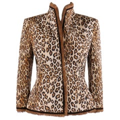 """Alexander McQueen A/W 2005 """"The Man Who Knew Too Much"""" Leopard Print Silk Jacket"""