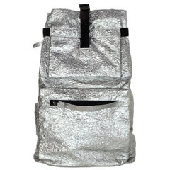 Lanvin Silver Metallic/Grey Crinkle Leather Large Backpack