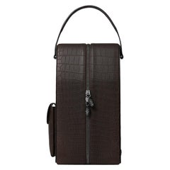TYLER ELLIS David Wine Bag Brown Matte Alligator Gunmetal Hardware