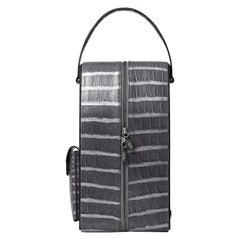 TYLER ELLIS David Wine Bag Grey Metallic Alligator Gunmetal Hardware