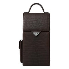 TYLER ELLIS Dennis Wine Bag Brown Matte Alligator Gunmetal Hardware