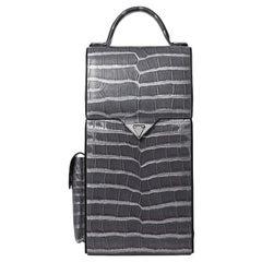TYLER ELLIS Dennis Wine Bag Grey Metallic Alligator Gunmetal Hardware