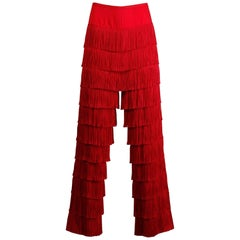 Epic 1960s Vintage Bright Red Tiered Fringe Pants or Trousers