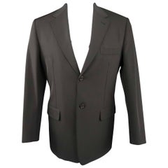 Men's PRADA 40 Black Polyester Blend Sport Coat