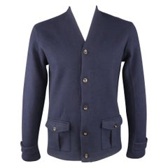 RALPH LAUREN Size M Navy Solid Wool Blend Cardigan Sweater