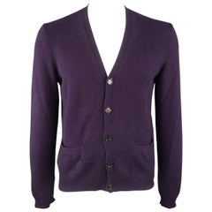 RALPH LAUREN Size M Eggplant Knitted Cashmere Cardigan Sweater