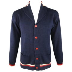 RALPH LAUREN Size L Navy Knitted Cotton Cardigan Sweater