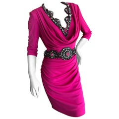 Badgley Mischka Couture Pink Jersey Jewel Embellished Cocktail Dress