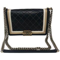 Chanel Boy Bag Black, Cream, Gold Trim