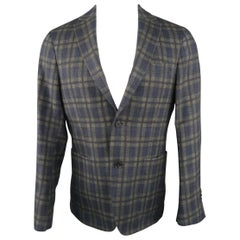 SAKS FIFTH AVENUE 38 Regular Charcoal Plaid Wool Sport Coat