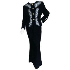 Dior Numbered Demi Couture Lesage Plume Embellished Black Velvet Evening Suit