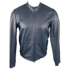 THEORY S Navy Solid Leather Jacket