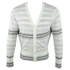BROOKS BROTHERS Size S Off White Striped Linen Cardigan