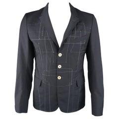 JUNYA WATANABE COMME DES GARCONS L Navy Patchwork Wool / Mohair Sport Coat