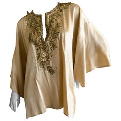 Oscar de la Renta Vintage Silk Mini Caftan Top with Golden Embellishments
