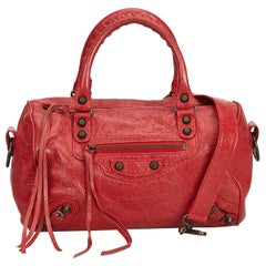 Balenciaga Red Leather Motocross Twiggy