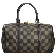 Fendi Brown Pequin Boston Bag
