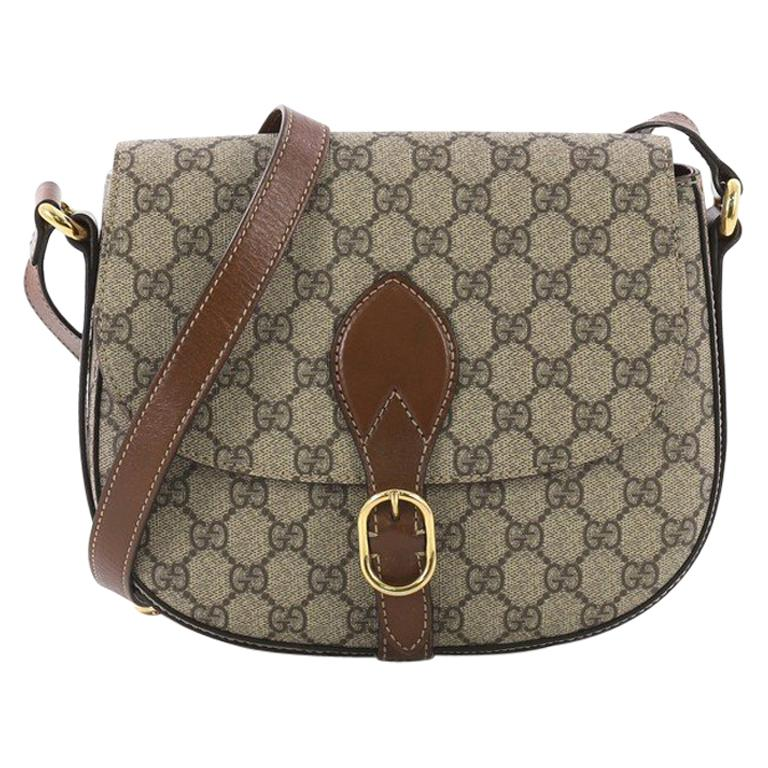 Gucci Flap Saddle Bag GG Coated Canvas Small