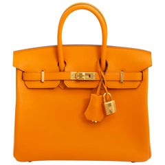 210f617bf1c34 Brand New Hermes Birkin 25 Curry Veau Swift PHW at 1stdibs