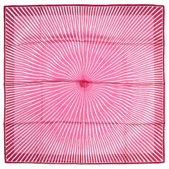 Hermes Pink/White Striped Starburst 90cm Silk Scarf