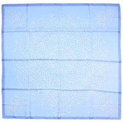 Hermes Blue/White Printed 90cm Silk Scarf