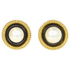 Chanel Vintage Faux Pearl/Goldtone Clip On Earrings