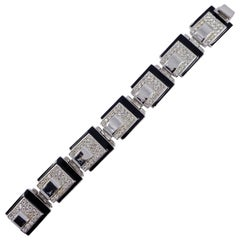 Art Deco 89 Silver Plated Link Bracelet with Clear Rhinestones and Black Enamel