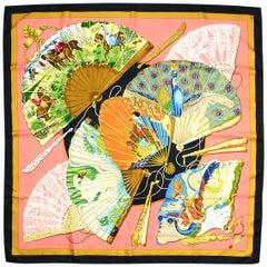 Hermes Black/Multicolor Brise De Charme Fan Print 90cm Silk Scarf